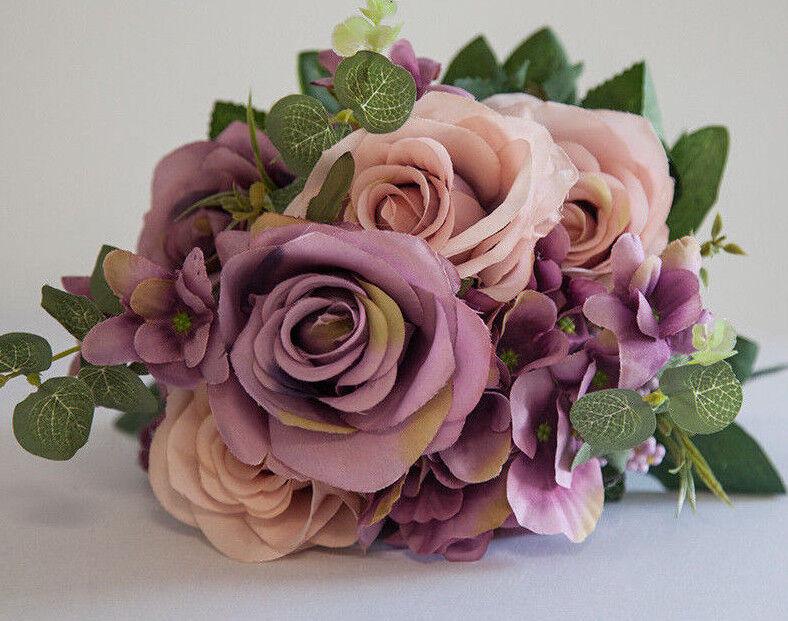 Immagine Seta Artificiale Rosa Bouquet di Fiori (No.1)- 8 Colori Matrimonio Decorazione