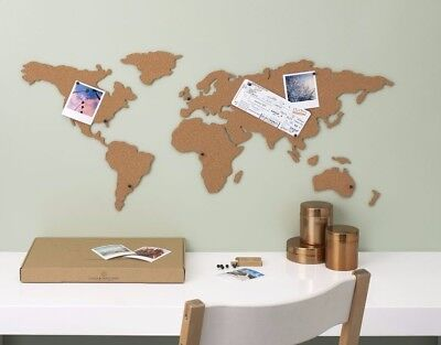 Corkboard Map Adhesive Map of the World Travel Planner Trip Tracker by Luckies