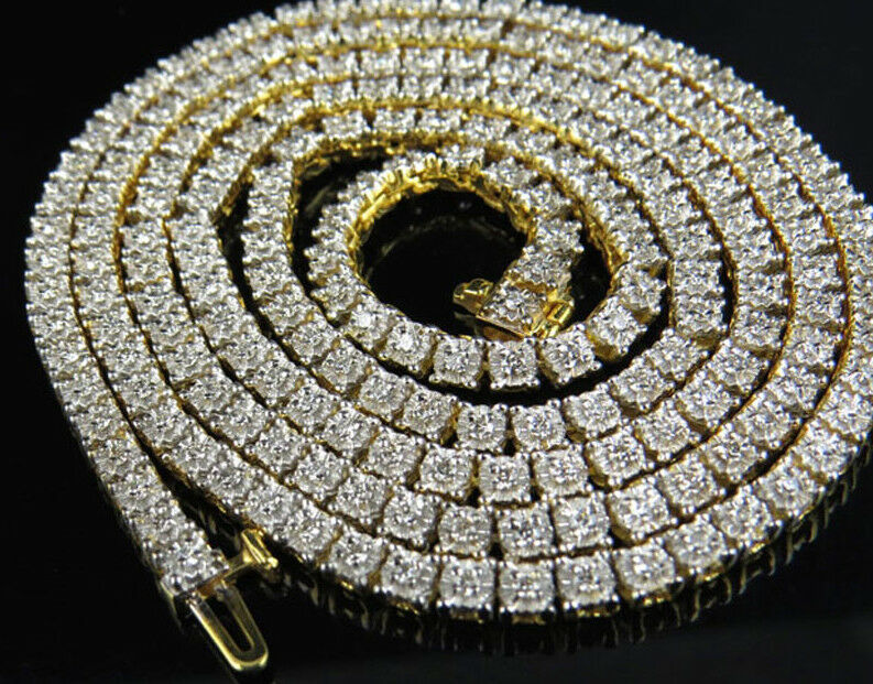 14k Yellow Gold Prong Set 1 Row Genuine Diamond Chain Necklace 7.5 Ct 26""