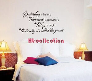 Wall-Quote-Art-Decal-Removable-Vinyl-Sticker-Mural-YESTERDAY-TOMORROW-TODAY-WQ01