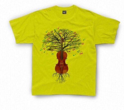 """e9c17695 Violin T-shirt Fiddle Musical Tree in Kids sizes 1-2yr up to 11yr-12yr. """""""