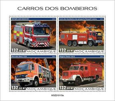 Mozambique 2021 MNH Fire Engines Stamps Special Transport Trucks 4v M/S
