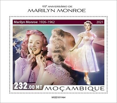 Mozambique 2021 MNH Marilyn Monroe Stamps Celebrities Film Actresses 1v S/S IV