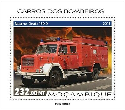 Mozambique 2021 MNH Fire Engines Stamps Special Transport Trucks 1v S/S II