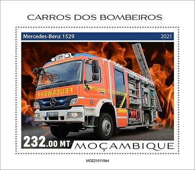 Mozambique 2021 MNH Fire Engines Stamps Special Transport Trucks 1v S/S IV