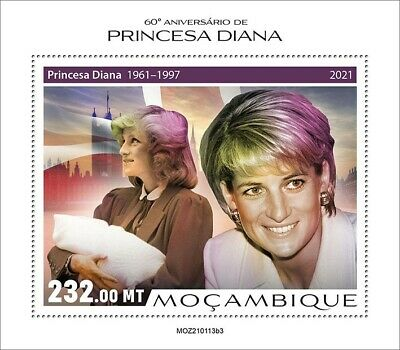 Mozambique 2021 MNH Royalty Stamps Princess Diana 1v S/S III