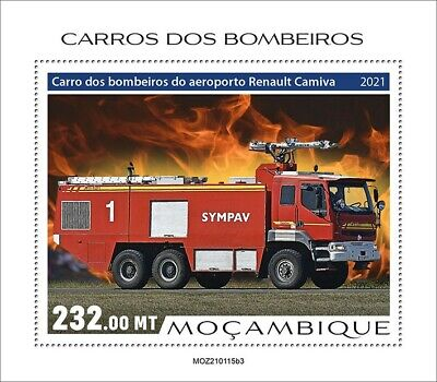 Mozambique 2021 MNH Fire Engines Stamps Special Transport Trucks 1v S/S III