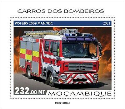Mozambique 2021 MNH Fire Engines Stamps Special Transport Trucks 1v S/S I