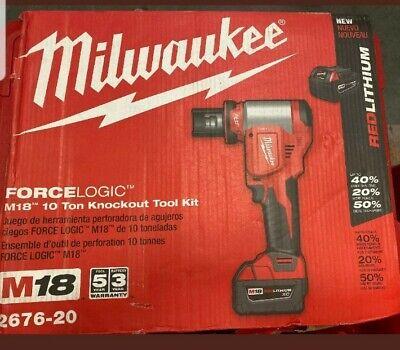 New In Box Milwaukee Force Logic 2676-20 M18 10 Ton Knockout Tool Kit