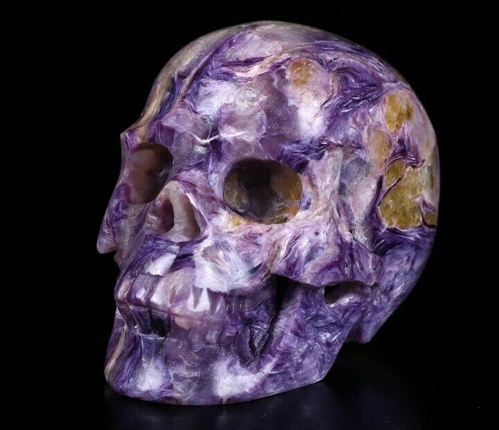 """2.0"""" RUSSIAN CHAROITE Carved Crystal Skull, Realistic, Crystal Healing"""