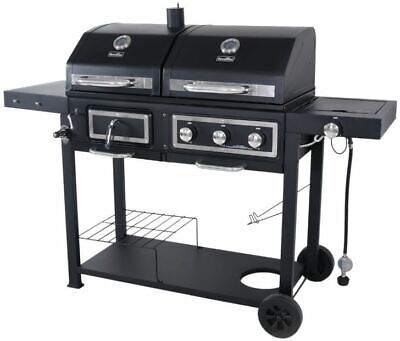 Combination Gas Grill - Charcoal Gas Grill Dual Fuel Combination BBQ Outdoor Cooking Burner Family Large