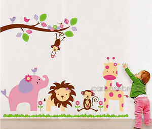 HUGE Jungle Animal Zoo Wall Stickers Nursery Girls Childrens Bedroom Art Decals
