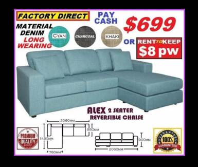 New  Lounge Corner Suite Reversible Chaise. Cash Price $699.