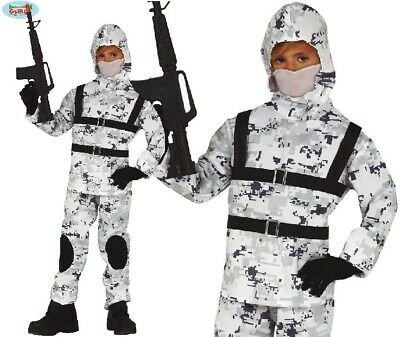 Kids Sniper Costume (Childs Arctic Soldier Fancy Dress Costume Kids Boys Sniper Military Outfit)