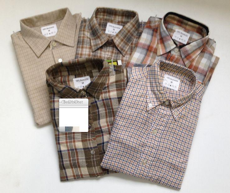 2 X Karrierte Oberhemden, Flanelhemden, Braun-Beige karriert, Arbeitshemden