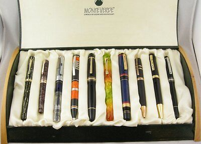 10-Pen Display & Storage Pen Display Case w/Hinged Top & Wood Ends - NEW!