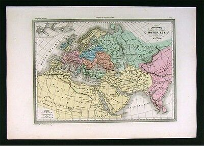 1860 Malte Brun Map 9th Europe Middle Ages Charlemagne - Map Europe 1860