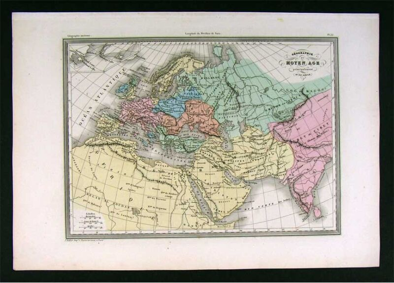 1860 Malte Brun Map 9th Europe Middle Ages Charlemagne