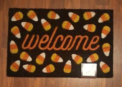 Halloween Doormat Door Mat 18 x 28 Outdoor Coir Black Orange Candy Corn Welcome - Halloween Welcome Mat