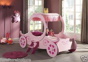 Girls 3'0 Single Pink Princess Carriage Bed - Novelty bed - Cinderella