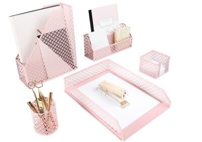 Blu Monaco Office Supplies Pink Desk Accessories For Women-5 Piece Desk Organize