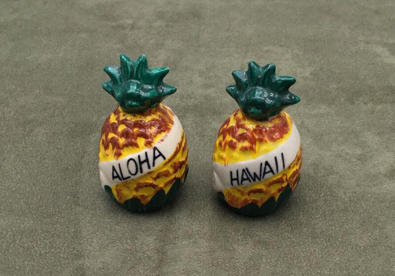 Vintage Hawaii Pineapple Salt Pepper Shakers Made in Japan Ceramic
