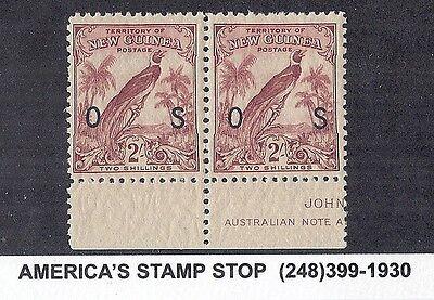 1932 New Guinea SC O34 SG O53 Official, Two Shillings, Overprint, Pair - MNH*