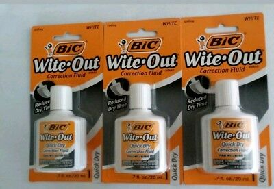 3x Bic White Out Wite Out Quick Dry Correction Fluid Foam Brush .7oz
