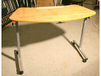 Curved Table to go over an armchair, tilt facility plus reading ledge, ideal for food and drinks