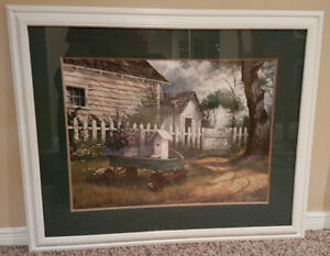 White and green Framed Country Print
