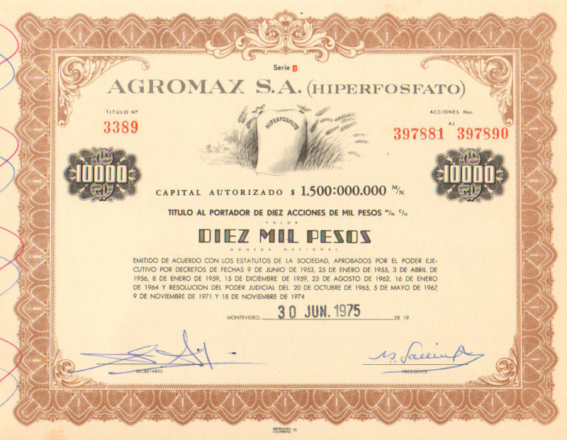 Agromax > 1975 Montevideo Uruguay 10,000 pesos old bond certificate