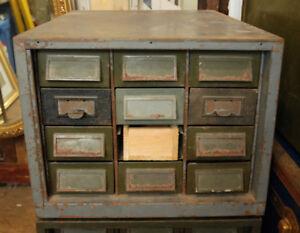Antique File Cabinet Storage Army Grey Vintage Missing Drawer