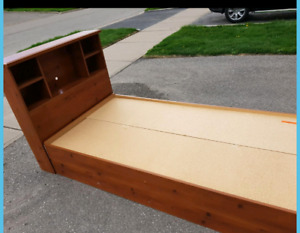 Twin Single Captains Bed wooden with Bookshelf Headboard