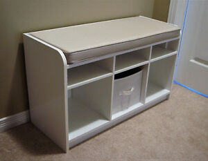 Storage Bench - White with Grey/Beige Cushion