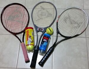 3 Tennis racquets and balls