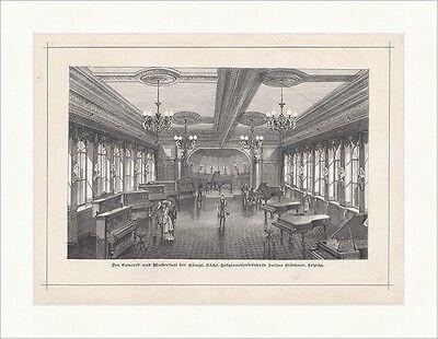 Concert- und Mustersaal d. kgl. sächs. Hofpianofabrik Blüthner Holzstich E 18312