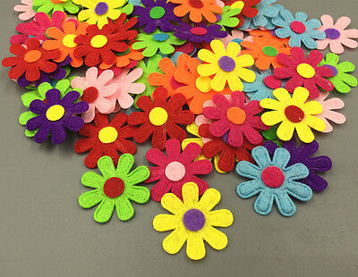 100Pcs  Flowers Felt Appliques Fabric Flower decoration Non-woven Crafts 27mm
