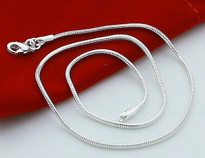 (Women 925 Sterling Silver Round Snake Chain Necklace 18/20/22/24/26/28/30 inches)
