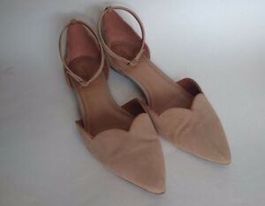 Pointed Suede Leather Ballet Flats Beige with Ankle Straps