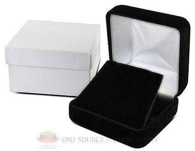Black Velvet Metal Pendant Earring Jewelry Gift Box 2 58 X 2 58 X 1 38h