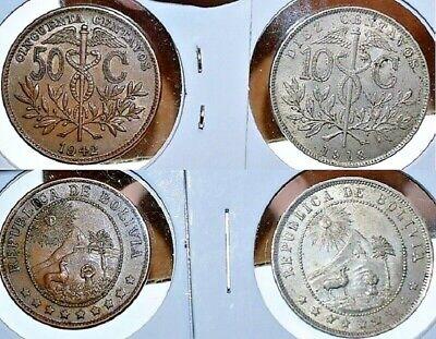 BOLIVIA 1918 10 TEN CENTAVOS COIN & 1942 50 CENTAVOS