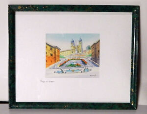 "Framed Water Colour - ""Piazza Di Spagna"", Rome"