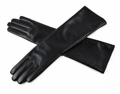 Long Genuine Leather Opera Length Party plain Evening Elbow (Party Leather)