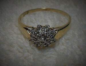 "10kt yellow gold ""Diamond Cluster"" Engagement Ring.  - Size 8"