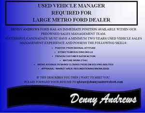 Used Vehicle Manager Edmonton Edmonton Area image 1