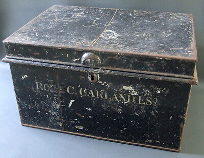 Vintage black metal tin box - small chest with carrying handles