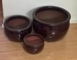 Bauviet Heavy Rustic Pots, Glazed Ceramic Pots (Set of 3)