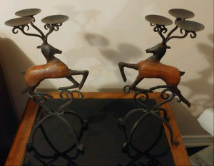 Reindeer candle holders (2)