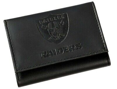 Oakland Raiders NFL Embossed Logo Black Leather Trifold - Leather Oakland Raiders Tri Fold Wallet
