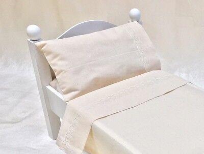 """4pc.Bedding Linen/Sheet set for 15-18-21"""" dolls FITS American Girl MuslinNatural"""